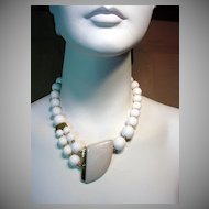 1980's Trafari, White Bead Necklace…