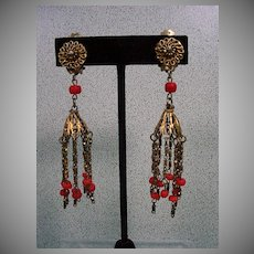 Beautiful Gold Tone and Real Coral Chandelier  Earrings,  1930's