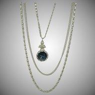 Vintage Goldette 3 Chain Necklace with Pendant, 1950's!