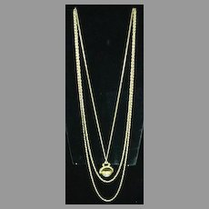 """Lovely """"Goldette"""" Vintage 3 Chain Necklace with Faux Torquoise Drop"""