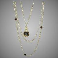 "Wonderful ""Goldette"" Vintage Chain Necklace with Stones!"