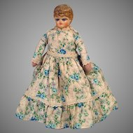 """Antique Paper Mache 9"""" Lady Doll with Glass Inset Eyes, 1900's"""