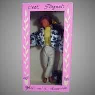 "Boxed Peynet Doll ""Frileuse"" from France, 1950's, Charming!"