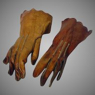 Antique Leather Gloves for French Fashion Doll, Circa 1800's