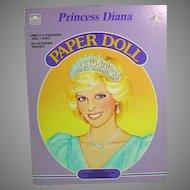 Princess Diana Paper Dolls, Mint and Un-cut, 1985, Golden Books