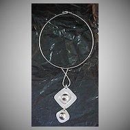 1960's Silver Tone, Geometric Shape, Pendant