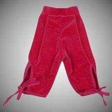 Vintage Madame Alexander Cissy Size Velvet Capri Pants, 1950's