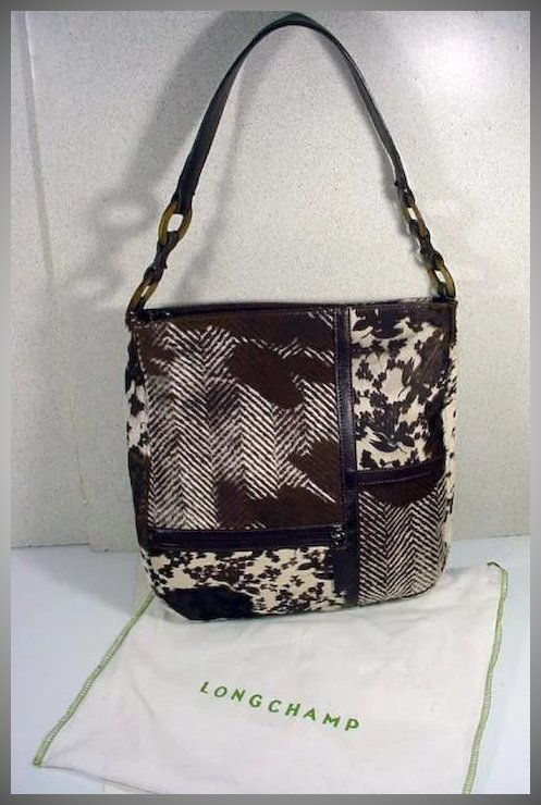 Longchamp Stenciled Fur and Leather Handbag 9dfe3a9111f03