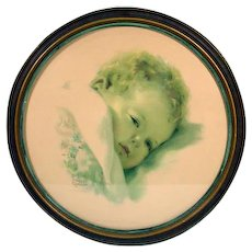 """Vintage Bessie Pease Gutmann Oval Framed Print, """"On Dreamlands Border"""""""
