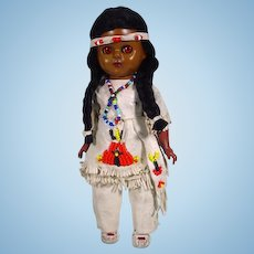 """1950's 8"""" American Indian Doll, All Original"""
