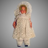 Small Antique Celluloid Doll Dressed in Lace, 1920's