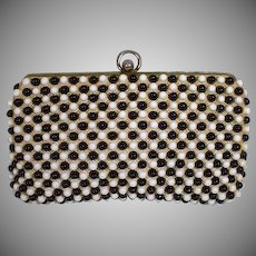 Vintage 1950's Black and White Summer Clutch