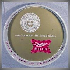 Vintage 1955 Miller High Life Beer Metal Serving Tray 100th Anniversary