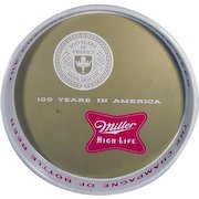 Vintage 1955 Miller High Life Beer Metal Serving Tray 100th Anniversary