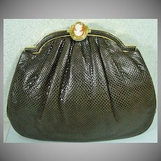 Vintage Judith Leiber Karung Snakeskin Purse with Cameo Closure, 1980's
