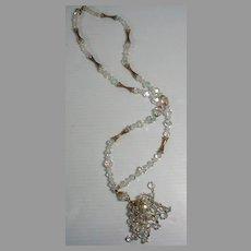 Vintage Crystal Tassle Necklace, 1950's