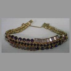 Vintage Purple and Clear Rhinestone Bracelet, 1950's