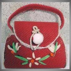 VIntage Madame Alexander Cissette Red Straw Purse, 1950's