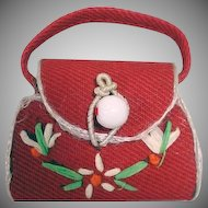 VIntage Madame Alexander Cissette Red Straw Purse, 1950's
