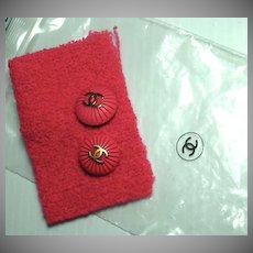 Vintage 1980's Chanel Buttons and Fabric Swatch