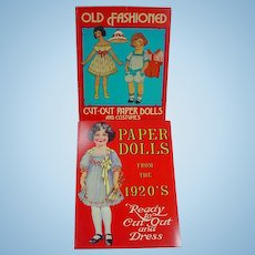 2 Un-Cut Paper Dolls Books, Paper Dolls from the 1920's and Early 1900's, 1980's Reproduction Books