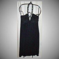 VINTAGE, Slinky Knit, Halter, Cocktail Length Evening Dress