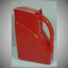 1940's Red Plastic Water Pitcher, California Moulders, Los Angeles