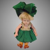 Antique 4 Inch Celluloid German Doll, Original Clothing