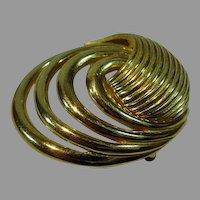 Vintage Trifari Gold Tone Circular Domed Brooch, 1960's