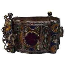 Vintage Hand Made Silver Metal, Enamel and Glass Cuff Bracelet, 1950's