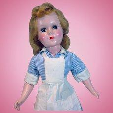 "Vintage 1950's 18"" Hard Plastic Doll Dressed As Waitress!"