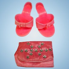 Vintage Pink High Heels and Evening Purse for Deluxe Reading Candy Fashion Doll,1962