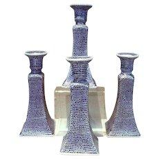 Vintage, Blue wear, Set of 4 Porcelain Candlesticks