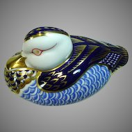 Vintage, Royal Crown Derby Bone China Duck Paperweight