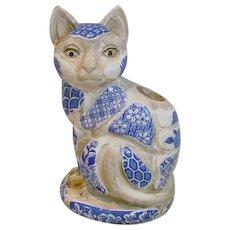 Vintage, Nancy Lopez, Patchwork, Blue wear Cat Candlestick, 1981