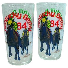 Pair of Vintage, Kentucky Derby Commemorative Glasses from 1984