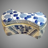 Vintage, Bow Shape, Blue Wear Covered Box with Asian Markings