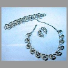 1950's 3 Piece Charel Necklace, Earrings & Bracelet Set