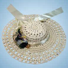 Vintage Woven Straw Doll Picture Hat, 1950's