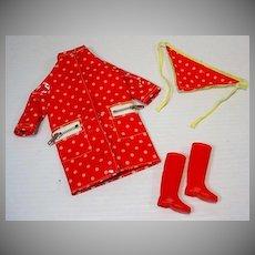 Vintage Mattel Francie Outfit, Polka Dots 'N Raindrops, 1966