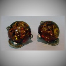 Vintage Amber and Sterling Clip On Earrings, 1950's