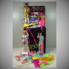 Mattel Barbie & The Rockers Lot, Dolls/Case/Clothing, 1986