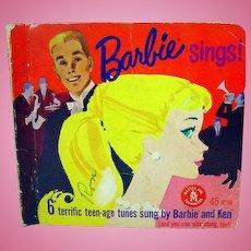 Vintage Barbie Sings, 45 RPM Record Set, Mattel, 1961