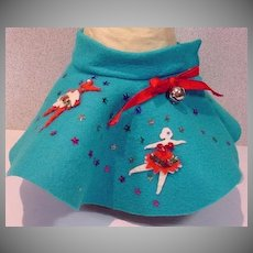 "Charming Mommie Made Felt Circle Skirt for 15"" Doll, 1950's"