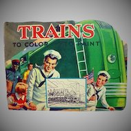 Vintage Coloring Book on Trains, 1940's