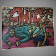 """Large Oil Painting """"The Bowery"""" by Grafitti Artist, CHICO, 1985, John Vacarro Estate"""