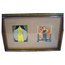 Original 1920's French Fashion Illustrations, Framed