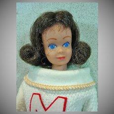 Vintage Brunette Mattel Midge Doll in Cheerleader,1964