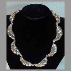 Vintage Mexican Silver Leaf Design Necklace with Brass Rope Trim, 1970's