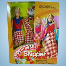 NRFB Vintage Mattel Growing-Up Skipper Doll, 1975